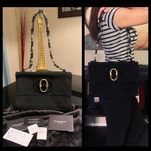 YSL Black Suede Chain Handle Shoulder Bag